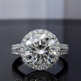 Natural 5.92 CTW Halo Split Shank Round Cut Diamond