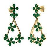 10.56 CTW Emerald Chandelier Earrings 18K Yellow Gold