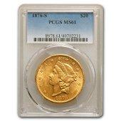 1876-S $20 Liberty Gold Double Eagle MS-61 PCGS