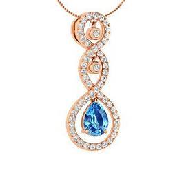 1.34 ctw Topaz & Diamond Necklace 14K Rose Gold