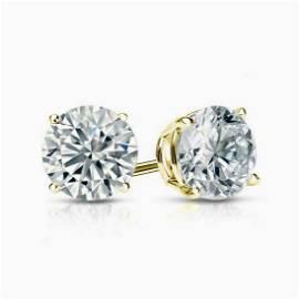Natural 4.02 CTW Round Cut Diamond Stud Earrings  18KT