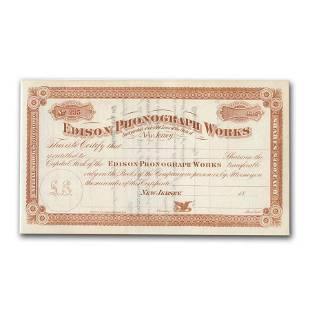 Edison Phonograph Works Stock Certificate (Circa 1888)
