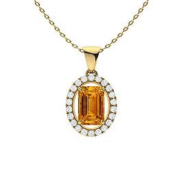 1.14 ctw Citrine & Diamond Necklace 14K Yellow Gold