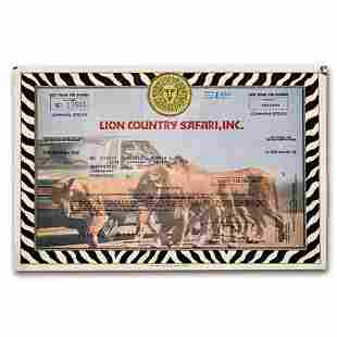 Lion Country Safari, Inc. Stock Certificate (1980)