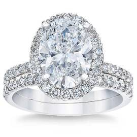 Natural 3.21 CT Diamond Bridal Ring 18K White Gold