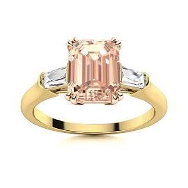 Natural 2.78 CTW Morganite & Diamond Engagement Ring