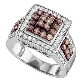 Brown Diamond Square Cluster Ring 1-1/2 Cttw 10kt White
