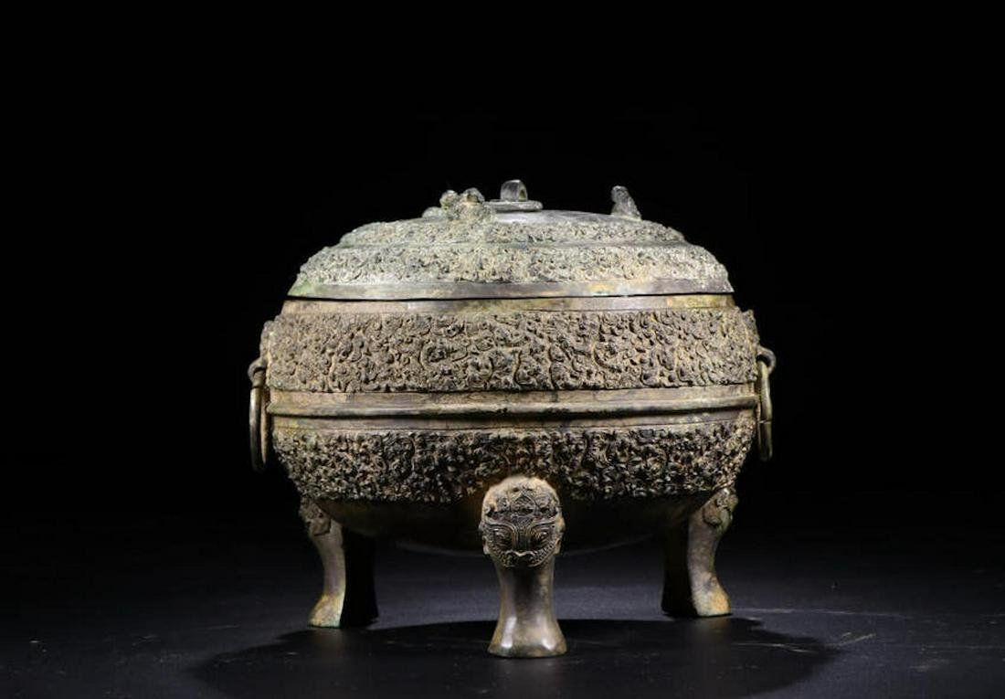 A CHINESE BRONZE CENSER, HAN DYNASTY