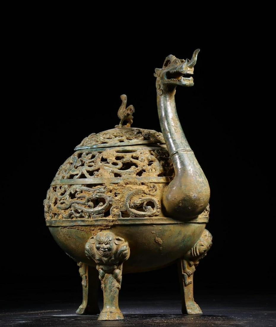A CHINESE MYTHICAL BEAST SHAPED ARCHAIC BRONZE CENSER