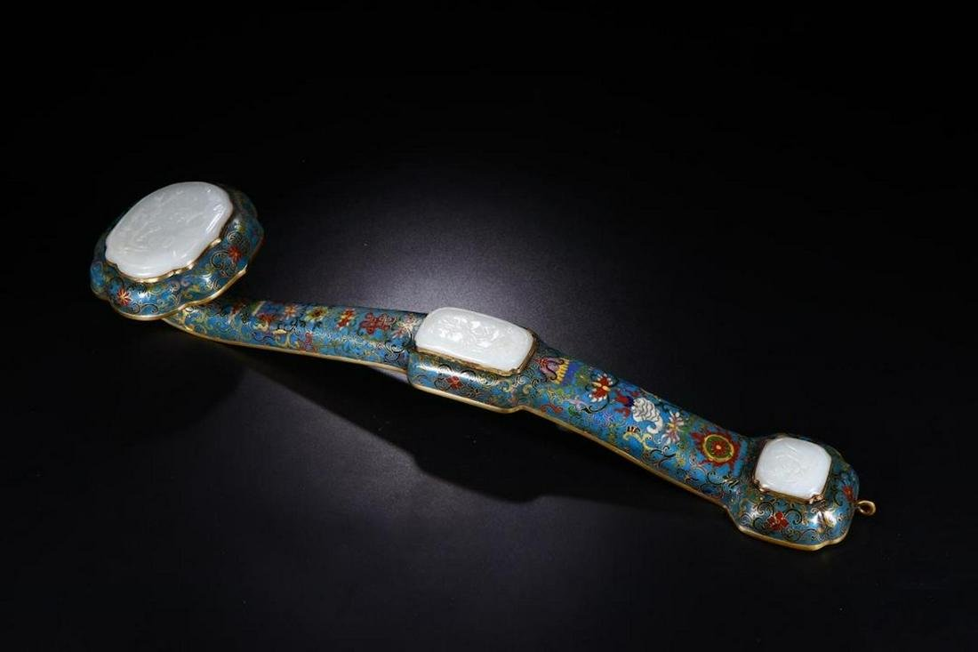 A CHINESE CLOISONNÉ ENAMEL RUYI WITH JADE, WITH