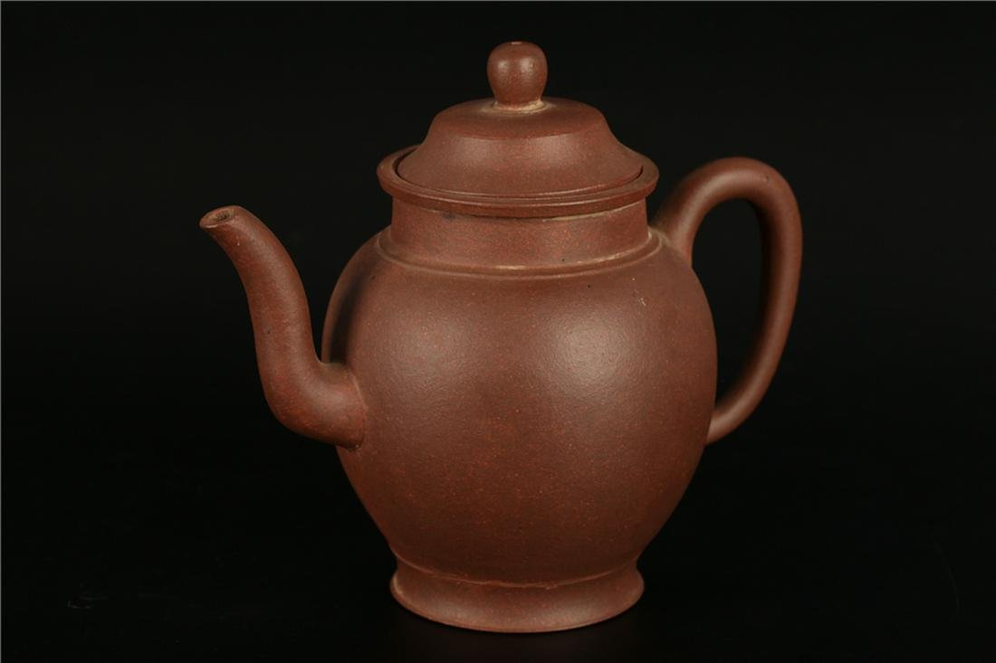 A CHINESE YIXING CLAY TEAPOT WITH  XUHENGMAO  MARK,