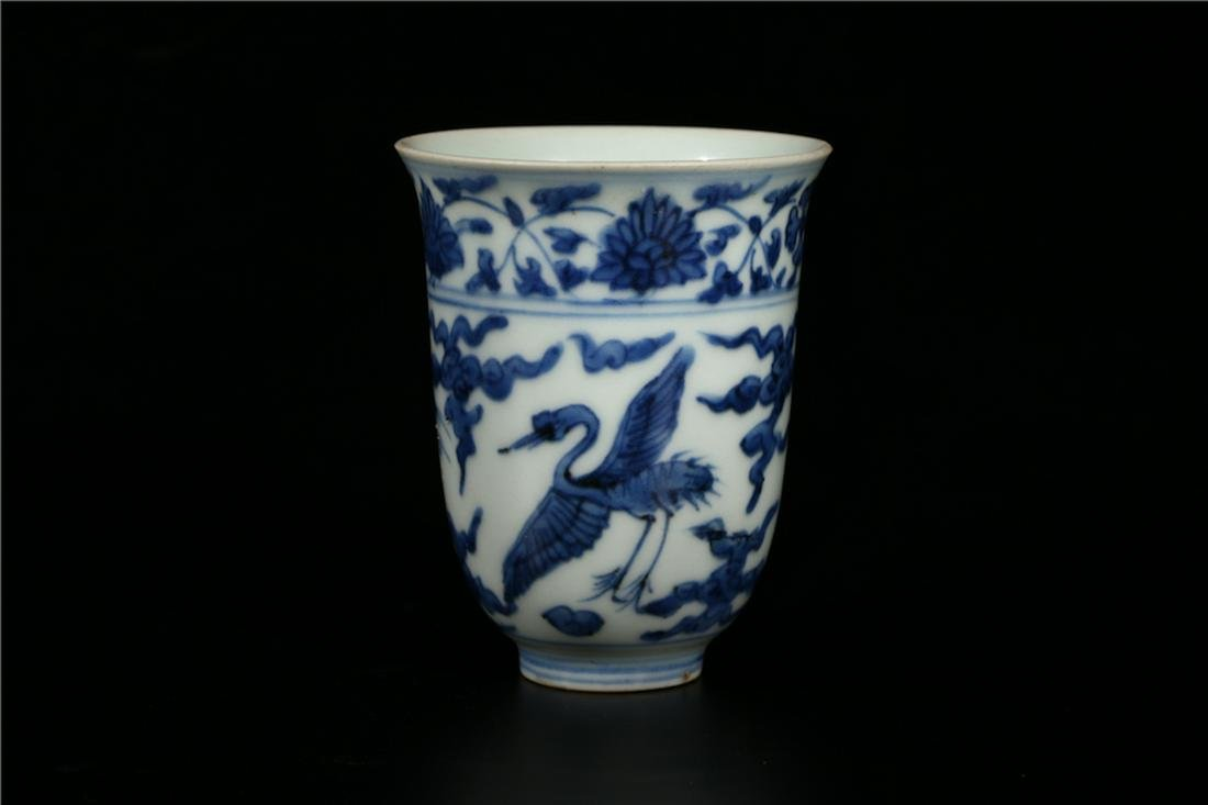 A CHINESE BLUE AND WHITE WINE CUP, MING DYNASTY