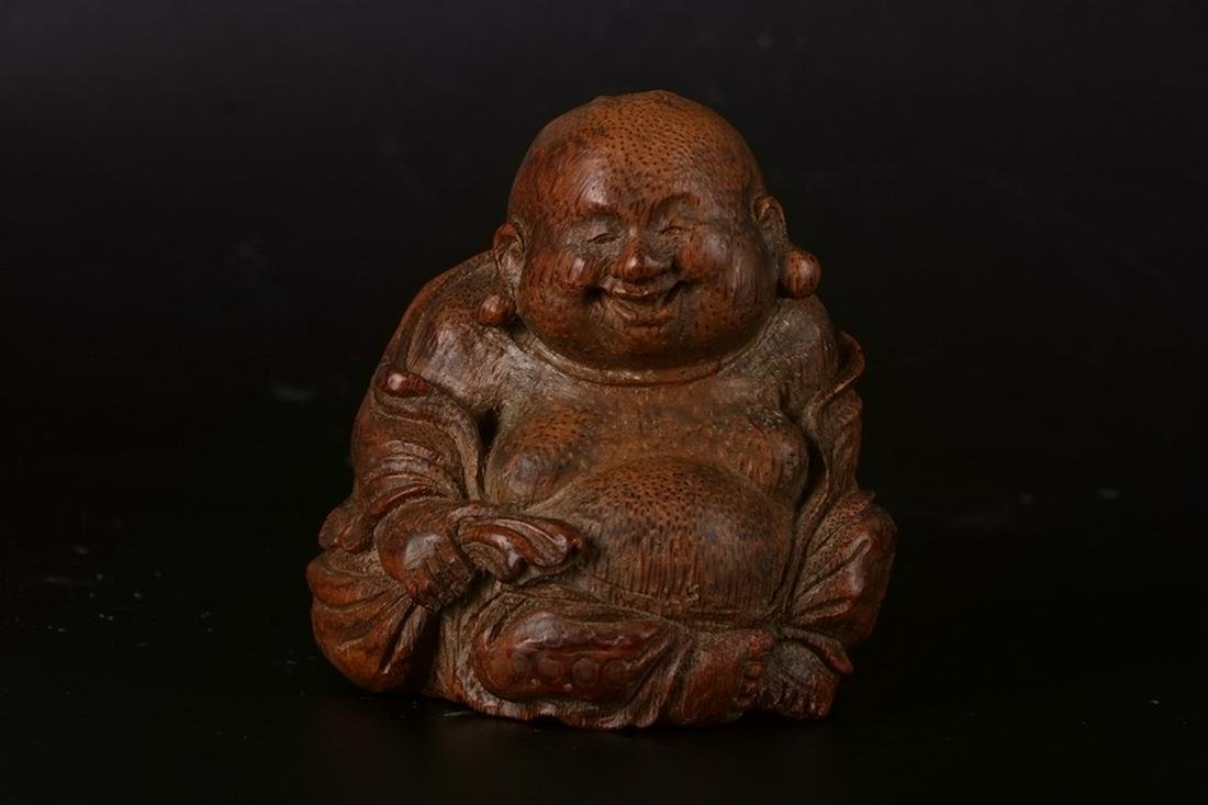A CHINESE BAMBOO CARVING OF BUDDA STATUE, QING DYNASTY
