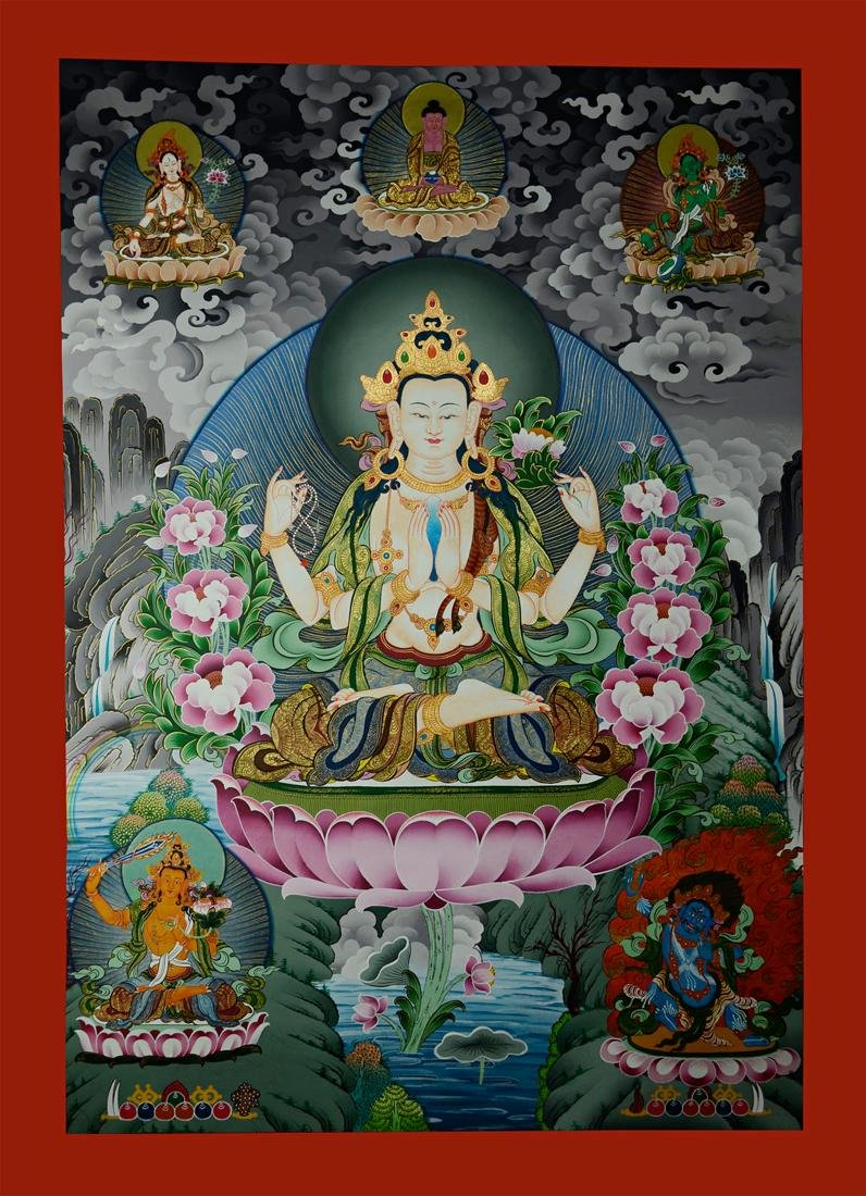 Traditional Hand Painted Chenrezig Thangka Painting