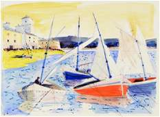 Charles Levier (1920 - 2003) - Signed watercolor and