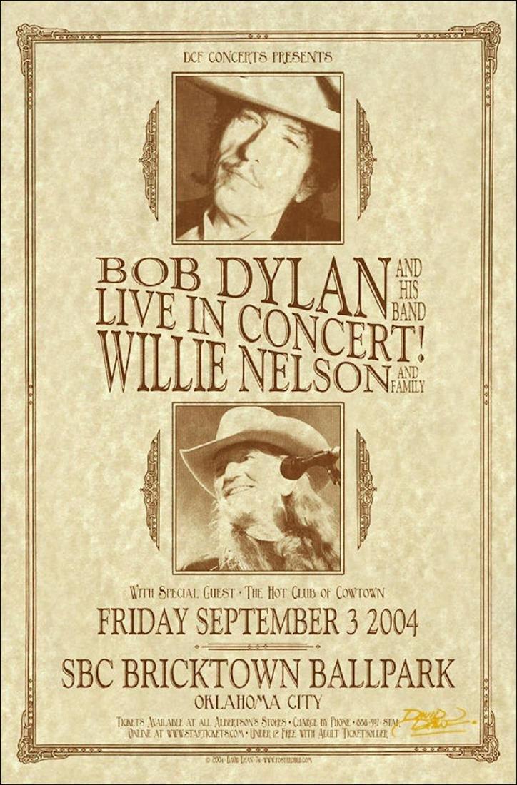 BOB DYLAN WILLIE NELSON Original Signed 2004 Oklahoma