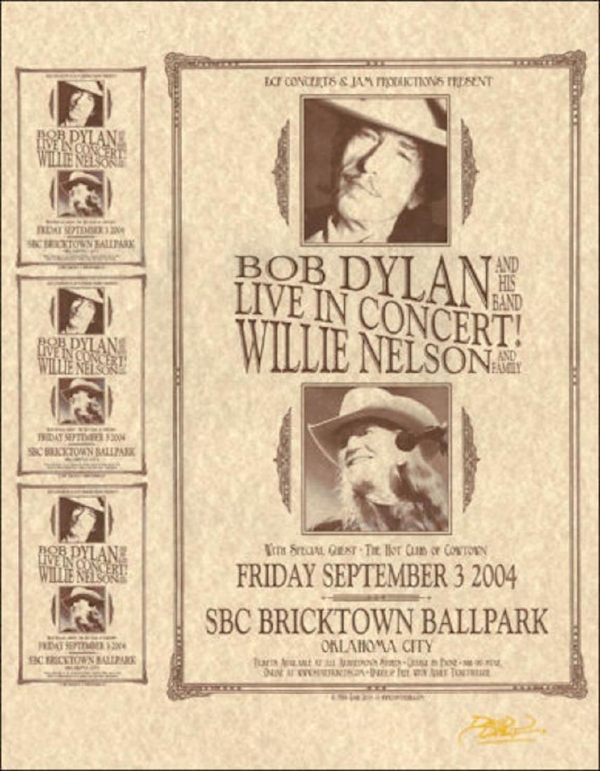 BOB DYLAN WILLIE NELSON Original 2004 Oklahoma City