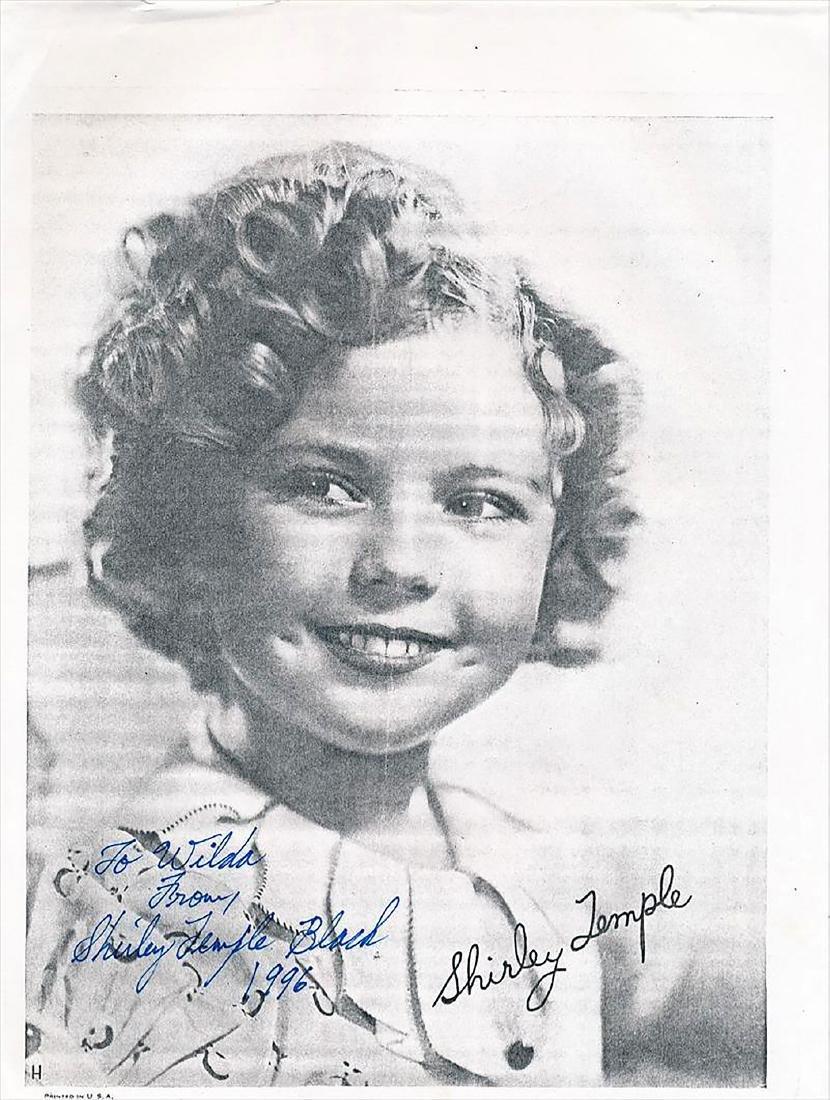Shirley Temple Black- Paper stock photo signed w/COA