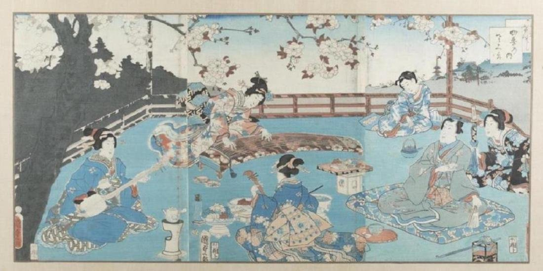 Japanese triptych woodblock print, Kunisada