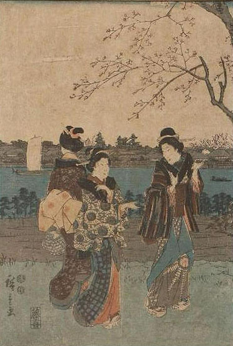 HIROSHIGE (1797-1858) JAPANESE WOODBLOCK PRINT- THREE