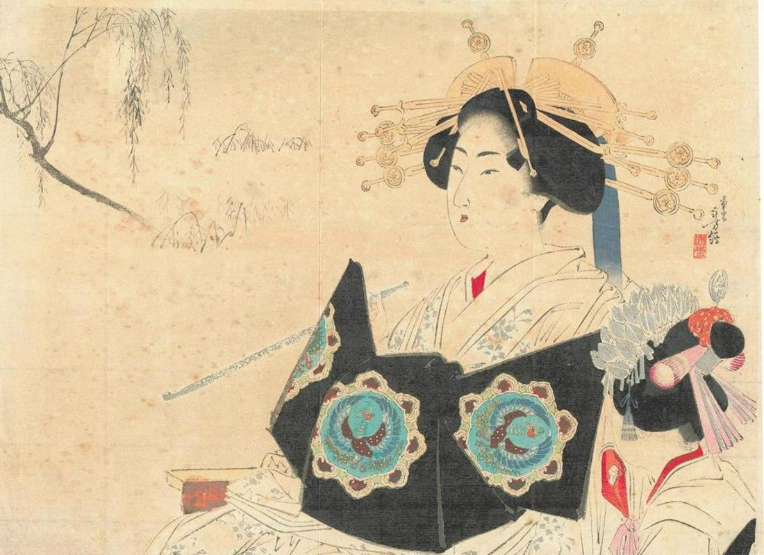 "Meiji Era Artist - ""Actor on Stage"" Japanese Woodblock"