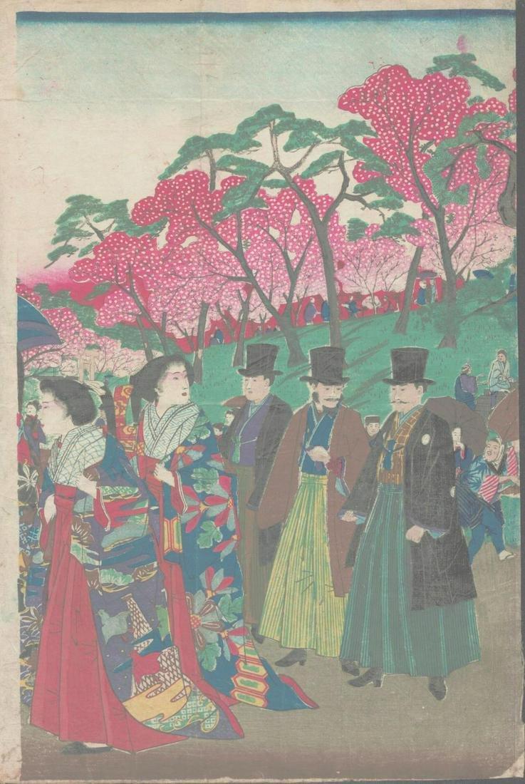 "Meiji Era Artist - ""Kabuki Actors"" - Japanese Woodblock"