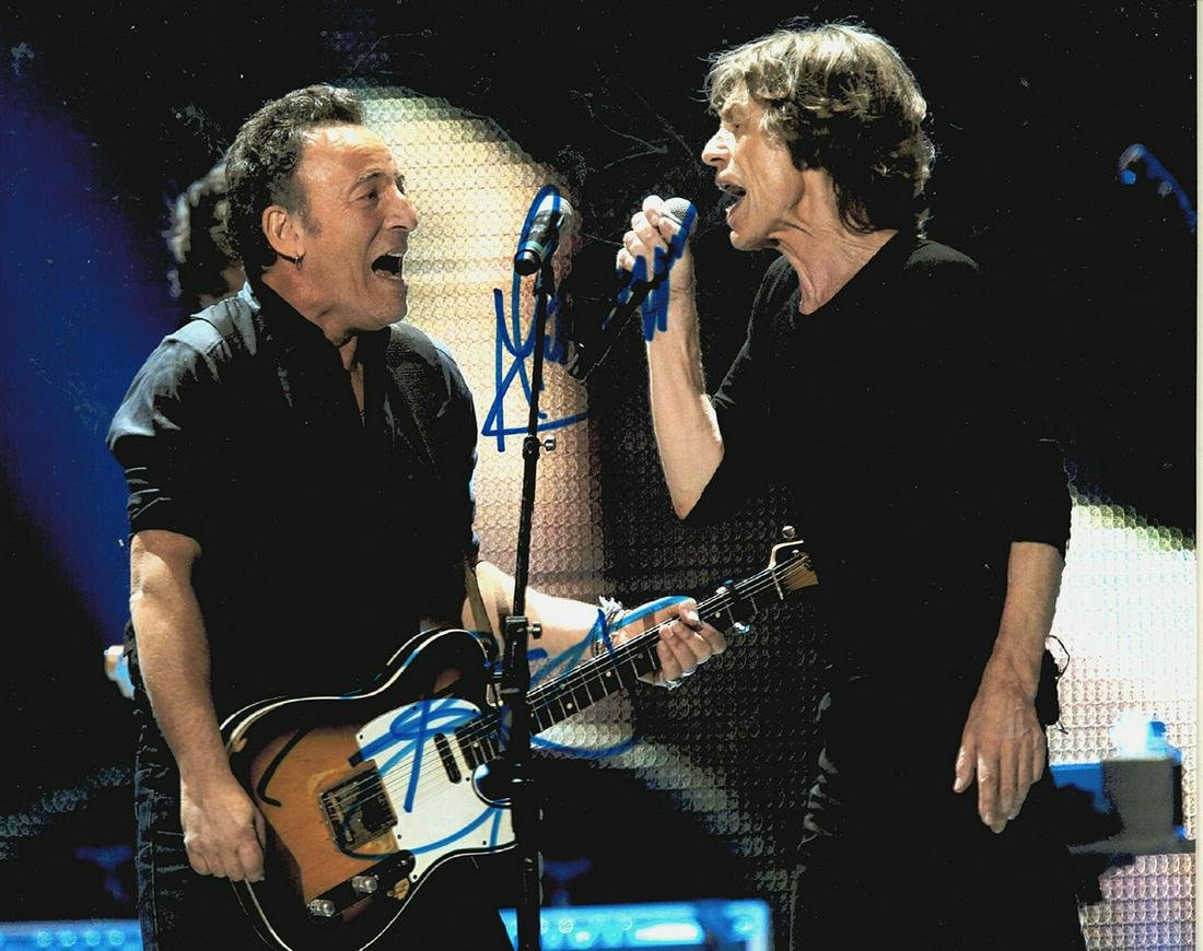 Bruce Springsteen & Mick Jagger - 8 x 10 Signed