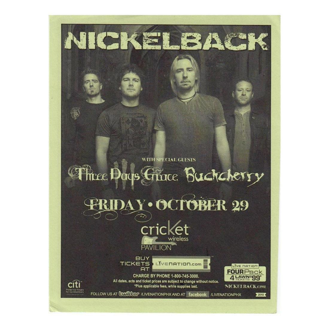 Nickelback - 2010 Concert Handbill