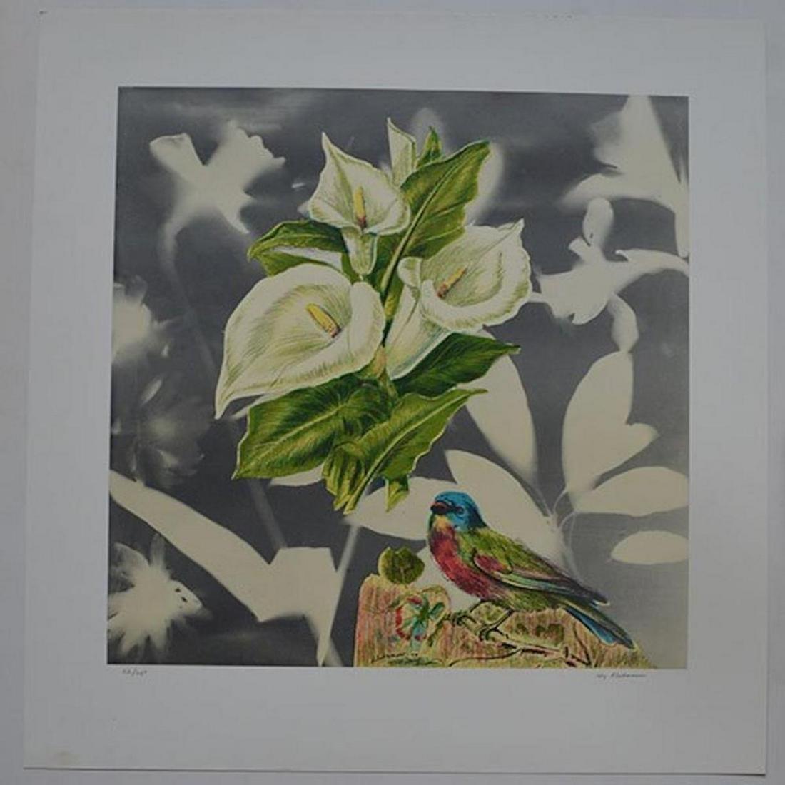 BIRD WITH CALLA LILIES