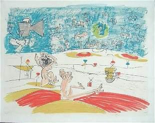 """ROBERTO MATTA CHILIEAN """"FOG GOG MAGOG LITHOGRAPH #5"""