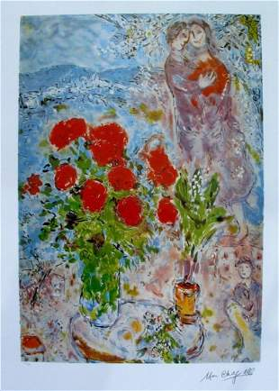 """MARC CHAGALL """"LOVERS AND FLOWERS"""" LITHOGRAPH"""