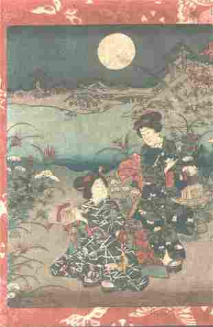 Meiji era artist (unsigned) Japanese Wood block Print