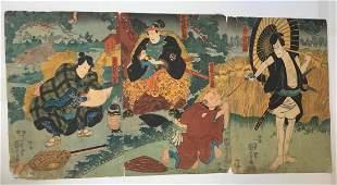 KUNIYOSHI- JAPANESE WOODBLOCK PRINT (TRIPTYCH)