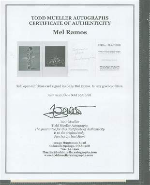 Mel Ramos - Signed Fold Open Exhibition card