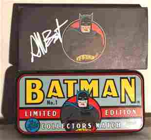 BATMAN WATCH Vintage SIGNED ON THE COVER BOX MINT1994