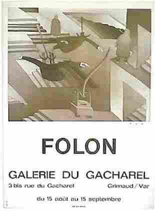 "FOLON ""GALERIE DU GACHAREL"" LITHOGRAPH VINTAGE RARE POS"