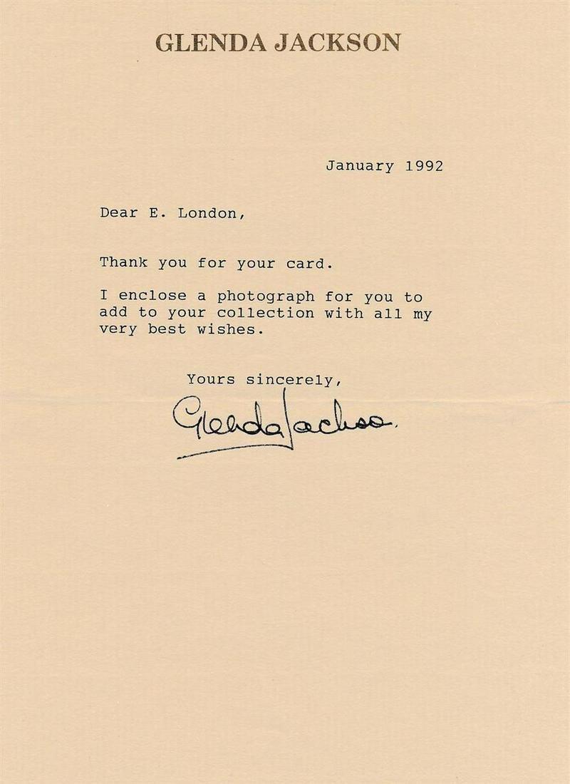 Glenda Jackson - signed TLS w/COA