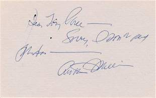 ARTHUR MILLER SIGNED 5 X 3 CARD EXPLAINING HE'S OUT OF