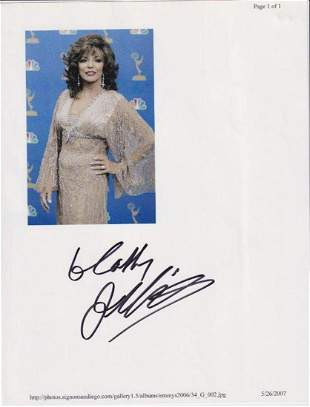 Joan Collins - 8.5 x 11 Signed Photograph w/COA