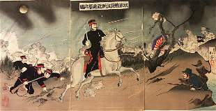 "Meiji Era Artist ""Scene from the Sino Japanese War"""