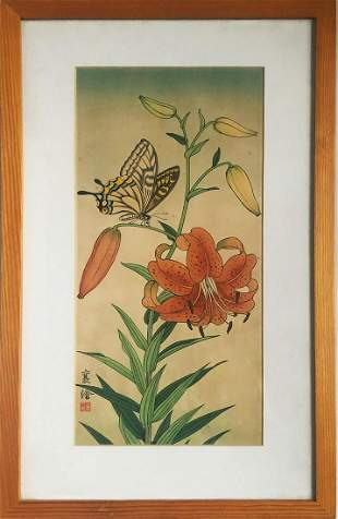 Jo Hashimoto - Butterfly and Tiger Lily (w/ Framed)