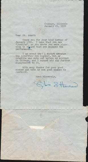 OLIVIA DE HAVILLAND SIGNED TLS FROM 1952. TLS FROM 1952