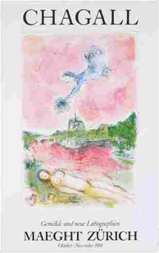 MARC CHAGALL MAEGHT GALLERY EXHIBITION POSTER, 1981