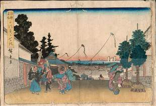 """HIROSHIGE - """"TOTO MEISHO VIEW OF EDO FROM TOP OF A"""
