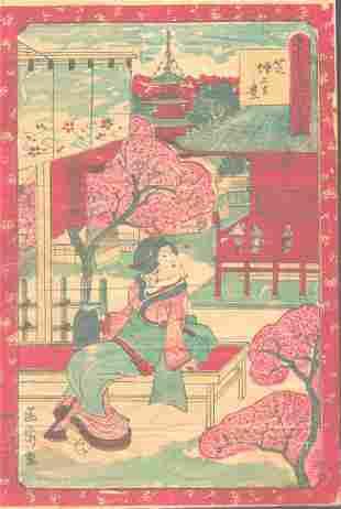 "Meiji Era Artist - ""Woman on Park Bench"" Japanese"