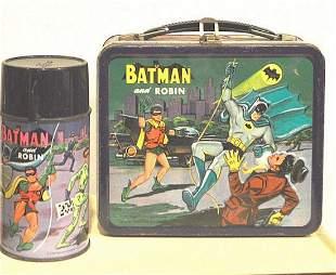 """ALADDIN """"BATMAN & ROBIN"""" LUNCH BOX W/ THERMOS. 1966"""