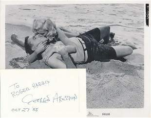 George Axelrod- 5.75 x 3.5 Signed card from 1958