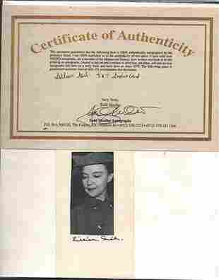LILLIAN GISH - 3 X 5 INDEX CARD SIGNED PHOTOGRAPH