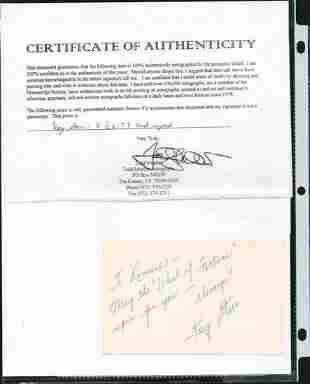 KAY STARR SIGNED AUTOGRAPH ON A 5 X 3 1/4 CARD W/COA