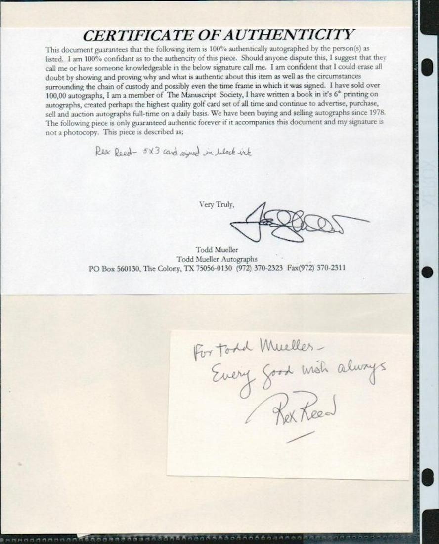 REX REED SIGNED AUTOGRAPH ON A 5 X 3 CARD W/COA